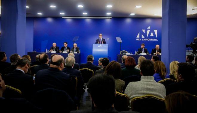 Στιγμιότυπο από συνεδρίαση της νέας πολιτικής γραμματείας της Νέας Δημοκρατίας