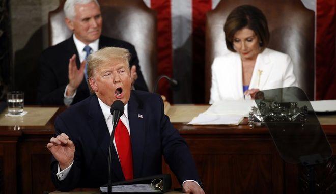 Ο Πρόεδρος των ΗΠΑ, Ν.Τραμπ στην ομιλία του για την Κατάσταση της Ένωσης