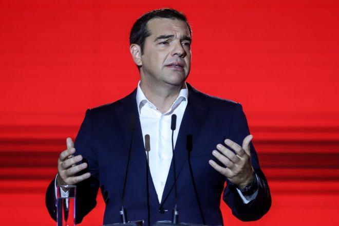 Ο πρόεδρος του ΣΥΡΙΖΑ, Αλ. Τσίπρας, στο βήμα της 84ης ΔΕΘ