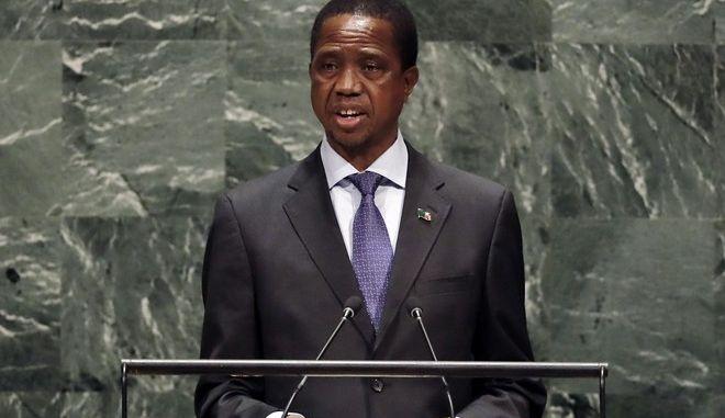 Ο πρόεδρος της Ζάμπιας, Έντγκαρ Λούνγκου