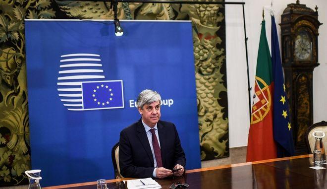 Ο Πρόεδρος του eurogroup Μάριο Σεντένο σε τηλεδιάσκεψη με τος υπουργούς και τα μέλη της Ε.Ε