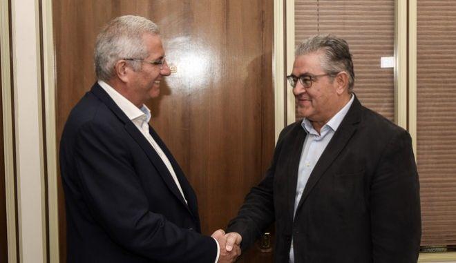 Συνάντηση του ΓΓ της ΚΕ του ΚΚΕ Δημήτρη Κουτσούμπα με τον ΓΓ της ΚΕ του ΑΚΕΛ Αντρο Κυπριανού