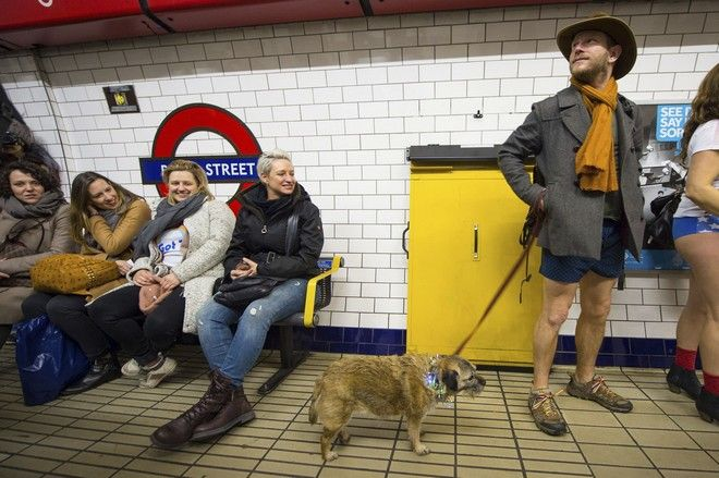 A man and a dog wait on the platform at Bond Street tube station, as people take part in No Trousers on the Tube day, in London, Sunday, Jan. 7, 2018. (Dominic Lipinski/PA via AP)
