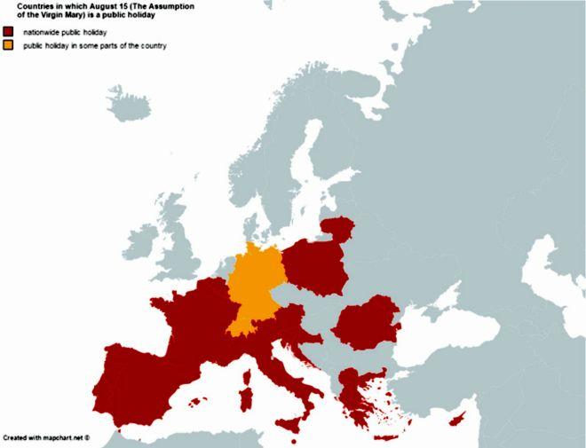 Δεκαπενταύγουστος, πού είναι αργία στην Ευρώπη (και πού όχι)