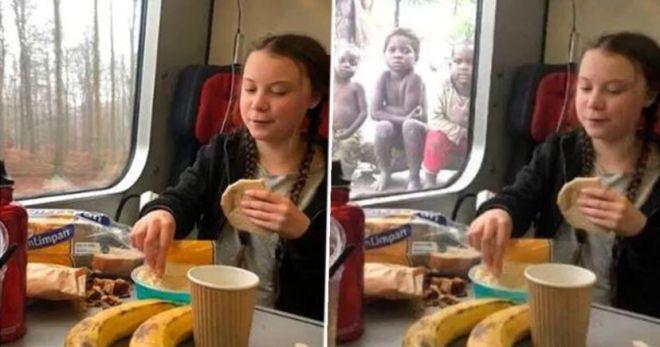 Γκρέτα Τούνμπεργκ: Η αλήθεια για το καρέ που τρώει μπροστά σε πεινασμένα παιδάκια