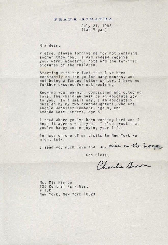 Κανένα σκάνδαλο! Απλά το τρυφερό γράμμα που έγραψε ο Φρανκ Σινάτρα στη Μία Φάροου το 1982!