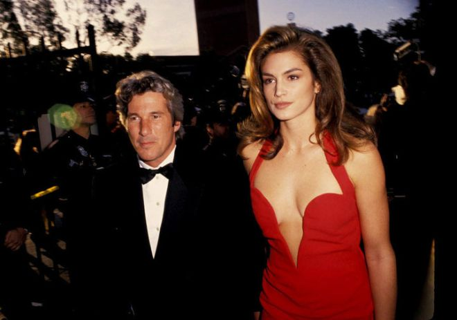 Richard Gere and Cindy Crawford during 63rd Annual Academy Awards at Shrine Auditorium in Los Angeles, California, United States. (Photo by Ron Galella/WireImage)
