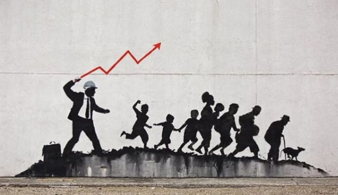 Bansky's creation about capitalism