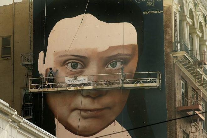 Τοιχογραφία της Γκρέτα Τούνμπεργκ στο Σαν Φρανσίσκο