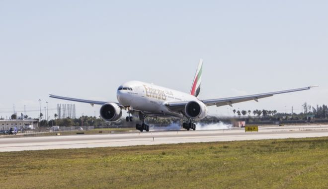 IMAGE DISTRIBUTED FOR EMIRATES - Emirates' newly refurbished Boeing 777-200LR touches down at Fort Lauderdale-Hollywood International Airport on Tuesday, March 13, 2018. (Jesus Aranguren/AP Images for Emirates)