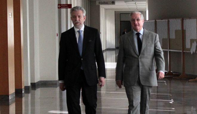 Επίσκεψη του υπουργού Δικαιοσύνης, Διαφάνειας και Ανθρωπίνων Δικαιωμάτων Σταύρου Κοντονή στο Συμβούλιο της Επικρατείας, την Δευτέρα 12 Δεκεμβρίου 2016. Ο υπουργός Δικαιοσύνης συναντήθηκε με τον Πρόεδρό του Νίκο Σακελλαρίου και τους Αντιπροέδρους του Ανωτάτου Διοικητικού Δικαστηρίου. (EUROKINISSI/ΣΤΕΛΙΟΣ ΣΤΕΦΑΝΟΥ)