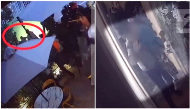 Αριστερά: Άνδρας απομακρύνει μωρό από το σημείο που εκτυλίχθηκαν τα γεγονότα της 1ης Νοέμβρη έξω από την καφετέρια. Δεξιά: Άνδρας κρατά στην αγκαλιά του ανήλικο στο σημείο που εκτυλίχθηκαν τα γεγονότα της ίδιας μέρα μέσα στην καφετέρεια.