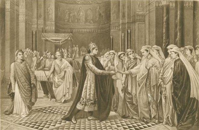 Ο Αυτοκράτορας Θεόφιλος επιλέγει τη σύζυγό του, φωτογκραβούρα της αγγλίδας ζωγράφου Βαλ Πρίνσεπ