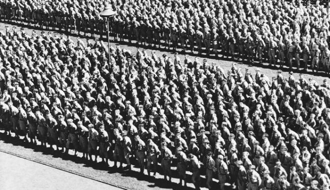 Adolf Hitler addressed a parade of 60,000 Hitler Youths at the Nazi Party Congress, March 13, 1936. Many high government and party officials were present when Hitler made his broadcast address stressing the opportunities open to Germans. This is a general view of the parade at Nuremberg, March 13, 1936. (AP Photo)