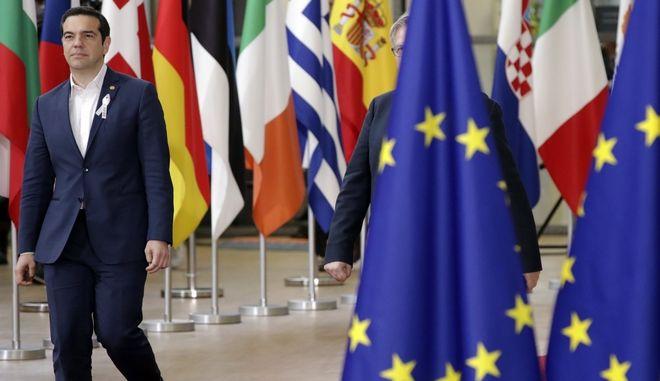Η άφιξη του Αλέξη Τσίπρα στη Σύνοδο Κορυφής στις Βρυξέλλες