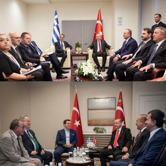 Κυβερνητικοί κύκλοι συγκρίνουν φωτόγραφίες από τις συναντήσεις Μητσοτακη και Τσίπρα με Ερντογάν