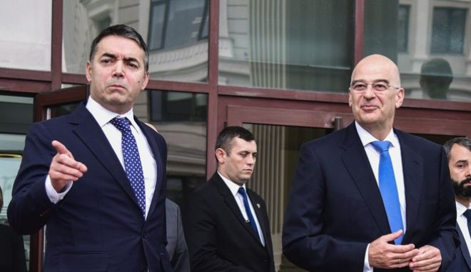 Συνάντηση του υπουργού Εξωτερικών Νίκου Δένδια με τον ομόλογό του Νίκολα Ντιμιτρόφ την Τρίτη 26 Νοεμβρίου 2019, στα Σκόπια.