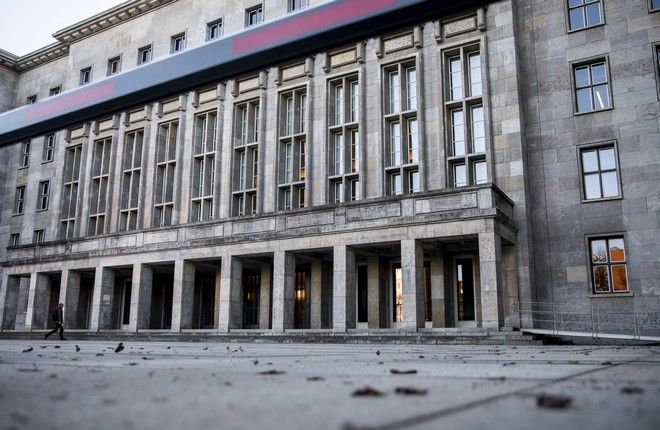 The German Federal Ministry of Finance is pictured in Berlin, Germany, Wednesday, March 15, 2017. The Ministry a packet with explosive contents was found. Police say a package sent to the German Finance Ministry containing low-grade explosives like the ones used in fire crackers has been safely disposed of. (Michael Kappeler/dpa via AP)