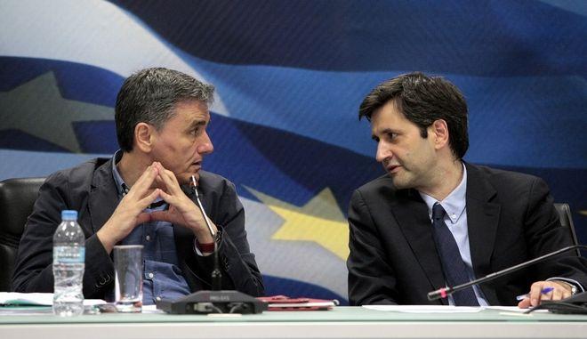 ΑΘΗΝΑ-Κοινή συνέντευξη Τύπου για τα αποτέλεσμα του Eurogroup της 24ης Μαΐου έδωσαν ο υπουργός Οικονομικών Ευκλείδης Τσακαλώτος, ο αναπληρωτής υπουργός Γιώργος Χουλιαράκης και η κυβερνητική εκπρόσωπος Όλγα Γεροβασίλη.(EUROKINISSI-ΣΤΕΛΙΟΣ ΣΤΕΦΑΝΟΥ)