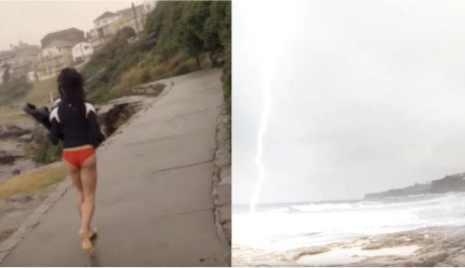 Βίντεο που κόβει την ανάσα: Κεραυνός πέφτει ξυστά από την κοπέλα του