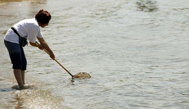 Δημότης του Ελληνικού καθαρίζει το νερό,στα πλαίσια της συγκέντρωσης διαμαρτυρίας κατοίκων υπέρ της ελεύθερης πρόσβασης στην παραλία του Αγίου Κοσμά               ( EUROKINISSI / ΧΑΣΙΑΛΗΣ ΒΑΪΟΣ )