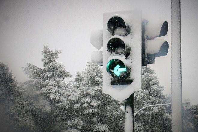 Στιγμιότυπα απο τον χιονισμένο Βόλο την Πέμπτη 3 Ιανουαρίου 2019.