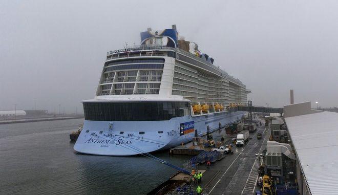 Το κρουαζιερόπλοιο Anthem of the Seas στο λιμάνι του Νιου Τζέρσι