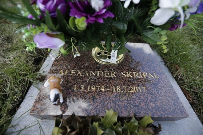 The cremation memorial stone of Alexander Skripal, the son of former Russian double agent Sergei Skripal who was found critically ill in Salisbury, England, is seen in London Road Cemetery in Salisbury, Wednesday, March 7, 2018. Britain's counterterrorism police took over an investigation Tuesday into the mysterious collapse of the former spy and his daughter, now fighting for their lives. Sergei Skripal and his daughter are in a critical condition after collapsing in the English city of Salisbury on Sunday. (AP Photo/Matt Dunham)