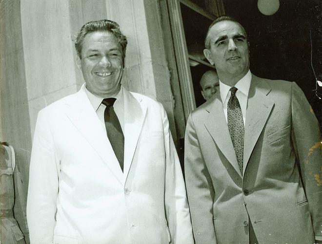 Ο Κωνσταντίνος Καραμανλής με τον Ντμίτρι Σεπίλοφ στην Αθήνα, Ιούνιος 1956