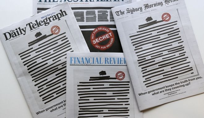 Αυστραλιανές εφημερίδες με μαυρισμένα πρωτοσέλιδα