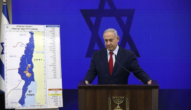 Ο Ισραηλινός πρωθυπουργός Μπενιαμίν Νετανιάχου σε συνέντευξη Τύπου στο Τελ Αβίβ