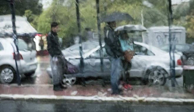 Car view of the rain storm that hit Athens, on Oct. 22, 2016 /       ,  ,  22 , 2016