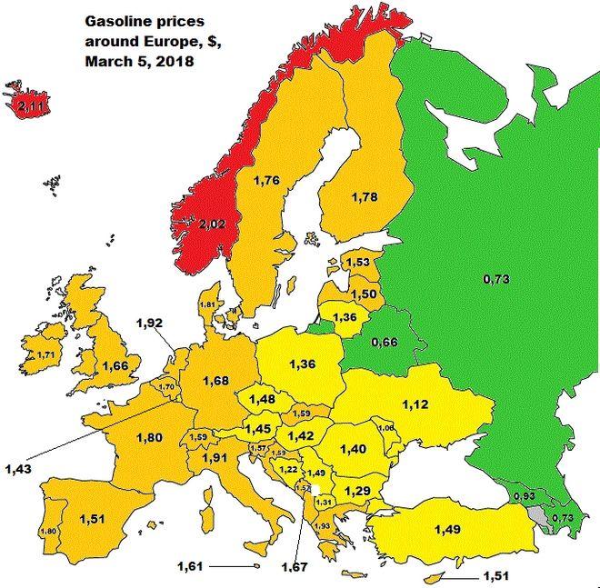 Μάρτιος 2018: Πού θα βρεις τα πιο φθηνά καύσιμα στην Ευρώπη - Η θέση της Ελλάδας