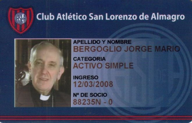 A photo of the membership card of Argentine Cardinal Jorge Bergoglio from the San Lorenzo soccer club, of which he is known to be a fan, is seen in this undated handout photograph distributed by the club on March 13, 2013, after Bergoglio was elected as the new Pope. Pope Francis, the former Cardinal Jorge Bergoglio, delivered his first blessing to a huge crowd in St Peter's Square on Wednesday night, asking for the prayers of