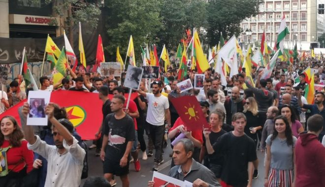 Πορεία αλληλεγγύης στον κουρδικό λαό.
