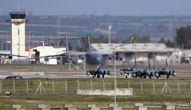 Saudi jet fighters parked at Incirlik Air Base near Adana, southern Turkey, Friday, Feb. 26, 2016.  Ibrahim Kalin, a top aide to Turkeys President Recep Tayyip Erdogan said Saudi military aircraft that will join the fight against Islamic State militia in Syria have begun arriving at a southern Turkish air base. The Saudi deployment comes as a U.S. and Russia-engineered cease-fire is due to take effect at midnight on Friday, but the truce agreement does not cover operations against the IS, designated as a terrorist group by the U.N. Security Council. (AP Photo)