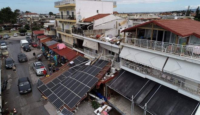 Αεροφωτογραφία με την καταστροφή από την κακοκαιρία στη Χαλκιδική