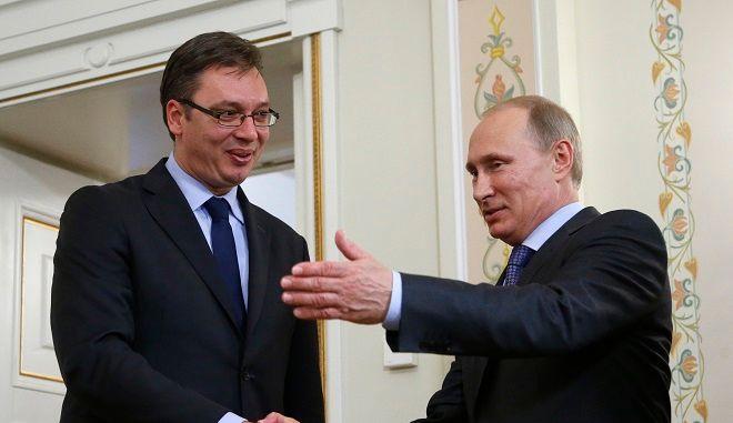 Στιγμιότυπο από την συνάντηση Πούτιν Βούτσιτς