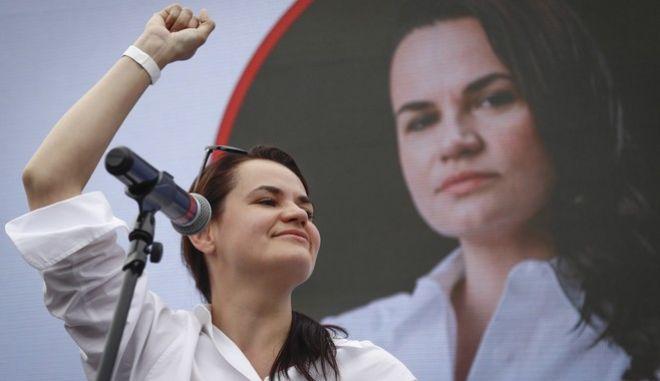 Η ηγέτις της αντιπολίτευσης της Λευκορωσίας, Σβετλάνα Τιχανόφσκαγια
