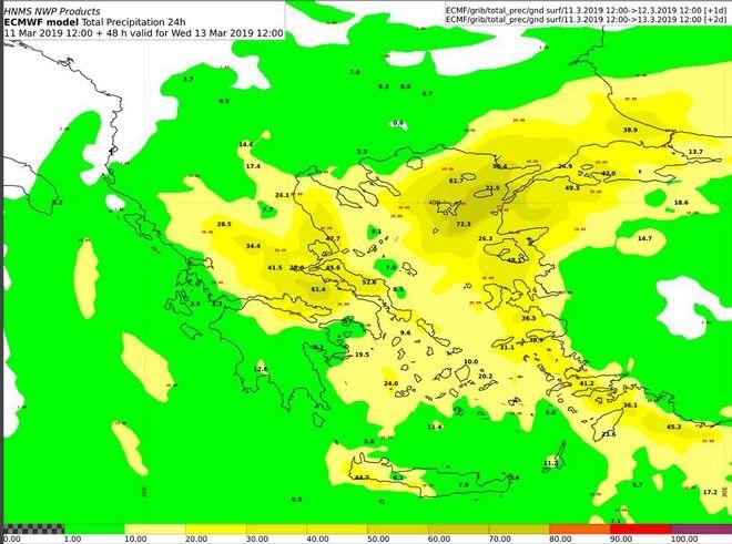 Δείκτης επικινδυνότητας με βάση τα όρια του Ευρωπαϊκού Κέντρου Μεσοπρόθεσμων Προγνώσεων (ECMWF) για το χρονικό διάστημα από Τρίτη 12:00 έως και Τετάρτη 12:00 UTC ( αφορά όλο το 24ωρο)