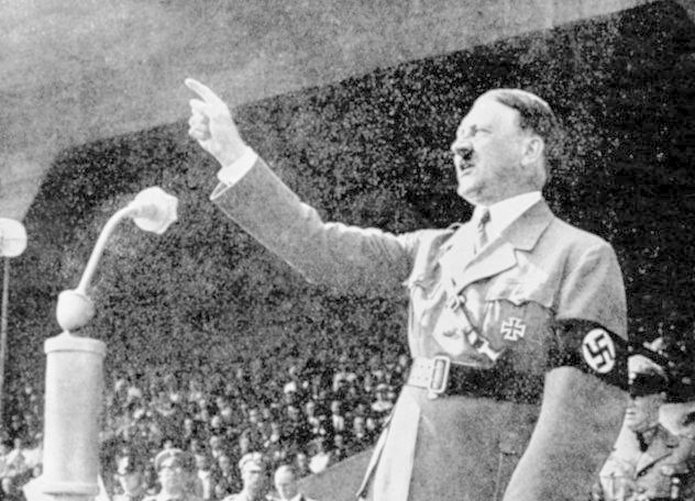 Adolf Hitler addressing Nazi rally