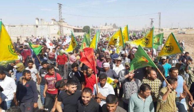 Εικόνα από την διαδήλωση των Κούρδων
