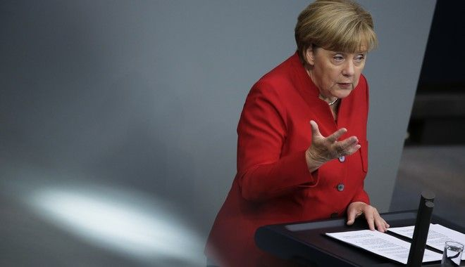 German Chancellor Angela Merkel delivers her speech during the budget 2017 debate at the German parliament Bundestag in Berlin, Wednesday, Sept. 7, 2016. (AP Photo/Markus Schreiber)