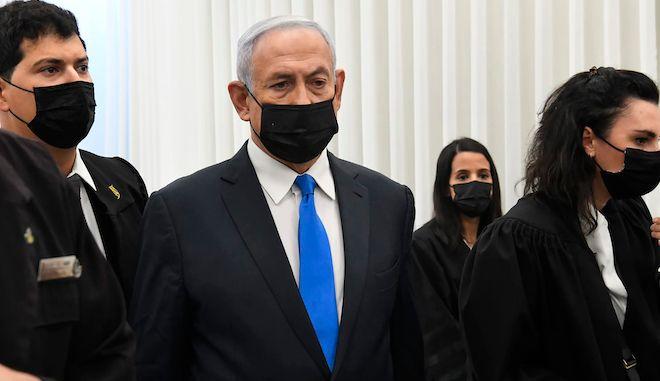 Ο Ισραηλινός πρωθυπουργός Μπέντζαμιν Νετανιάχου σε ακρόαση στο δικαστήριο της Ιερουσαλήμ, 8 Φεβρουαρίου 2021.