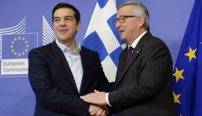Jean-Claude Juncker, Presidentof the EC receives Alexis Tsipras, Greek Prime Minister