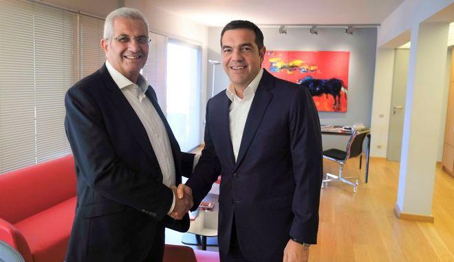 Συνάντηση του Προέδρου του ΣΥΡΙΖΑ, Αλέξη Τσίπρα, με τον ΓΓ του ΑΚΕΛ, Άνδρο Κυπριανού.