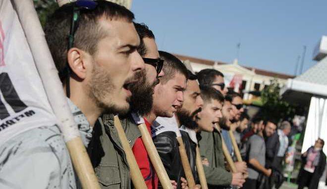 Συλλαλητήριο φοιτητ.ών στα Προπύλαια την πέμπτη 3 Νοεμβρίου 2016, στην Αθήνα. Οι φοιτητές ζητούν δημόσιες, δωρεάν και υψηλού επιπέδου σπουδές, αύξηση της χρηματοδότησης για την τριτοβάθμια εκπαίδευση και την μη επιβολή διδάκτρων στα μεταπτυχιακά.  (EUROKINISSI/ΣΩΤΗΡΗΣ ΔΗΜΗΤΡΟΠΟΥΛΟΣ)
