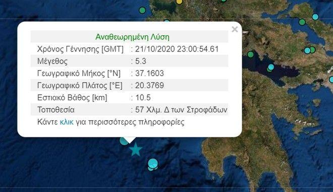 Σεισμός 5,3 Ρίχτερ κοντά στη Ζάκυνθο