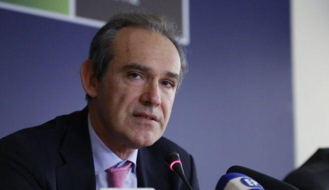 Συνέντευξη Τύπου, στο υπουργείο Περιβάλλοντος και Ενέργειας, με αντικείμενο το Χρηματιστήριο Ενέργειας την Τρίτη 21 Φεβρουαρίου 2017. Τη συνέντευξη έδωσαν από κοινού, ο ΥΠΕΝ, Γιώργος Σταθάκης, ο πρόεδρος και διευθύνων σύμβουλος του ΛΑΓΗΕ, Μιχάλης Φιλίππου και ο διευθύνων σύμβουλος του ομίλου του Χρηματιστηρίου Αθηνών Σωκράτης Λαζαρίδης. (EUROKINISSI/ΣΤΕΛΙΟΣ ΜΙΣΙΝΑΣ)