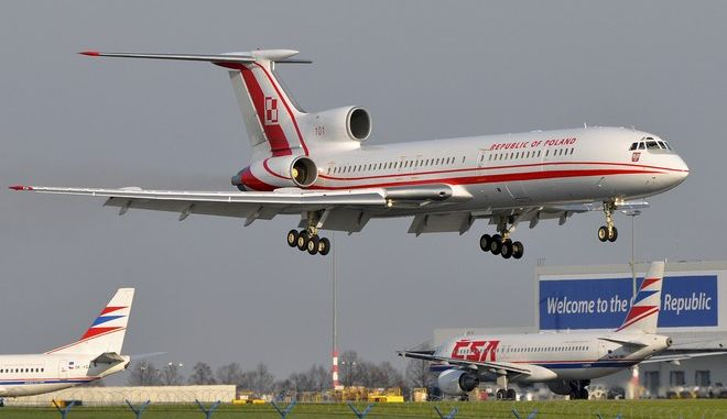 FILE - In this April 8, 2010 file photo Tupolev Tu-154M (registration number 101) lands at Ruzyne airport in Prague, Czech Republic. Polish Premier Donald Tusk on board arrived to the Czech capital to meet US President Barack Obama and eleven leaders of Middle and East European countries. Only 39 hours later, the same aircraft crashed near Smolensk, western Russia, on Saturday, April 10, 2010. Polish President Lech Kaczynski, his wife and some of the country's most prominent military and civilian leaders died in the accident. (AP Photo/CTK, Mirek Kubicek) **SLOVAKIA OUT**
